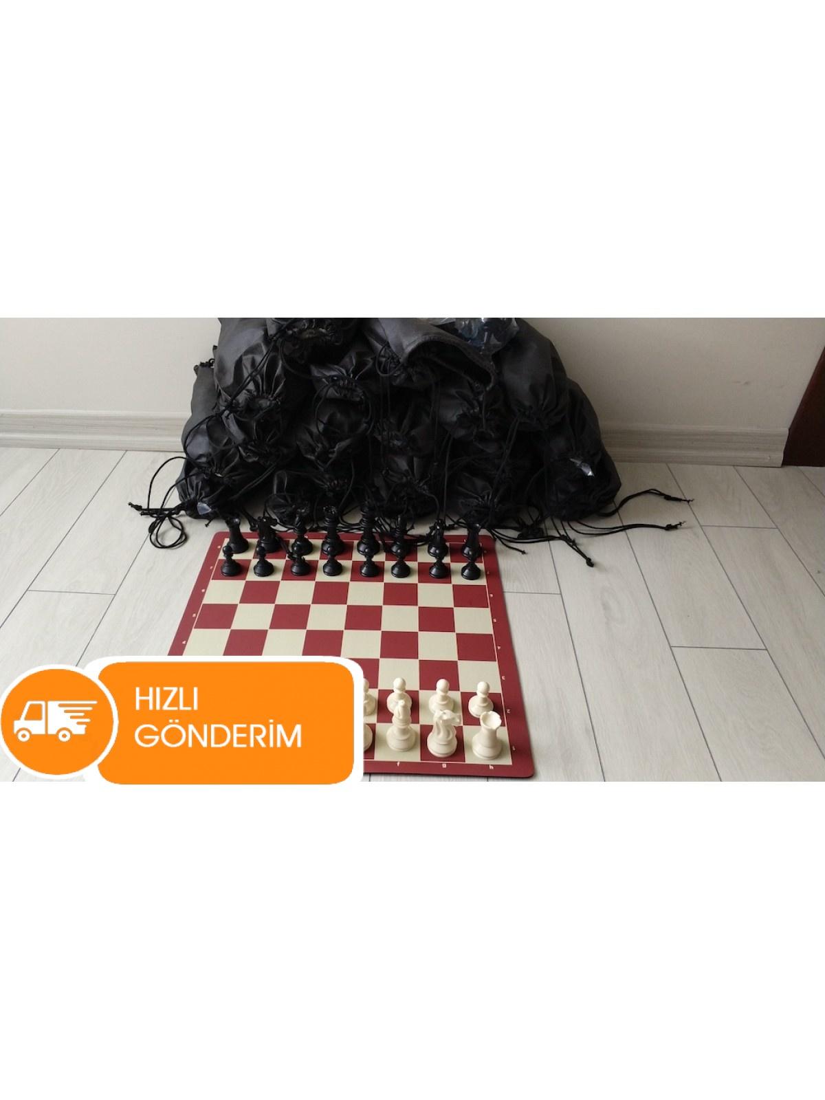 5 Adet Bez Torbalı Turnuva Satranç Takımı (95 mm)