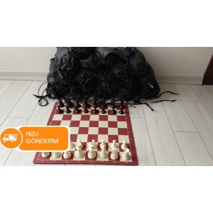 20 Adet Bez Torbalı Turnuva Satranç Takımı (95 mm)